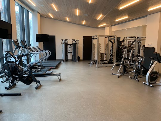 Gym with exercise equipment