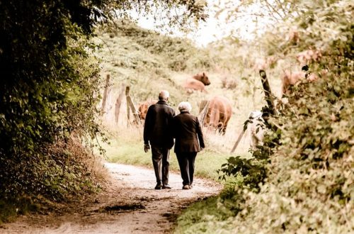 Two elderly people on a walk together outdoors