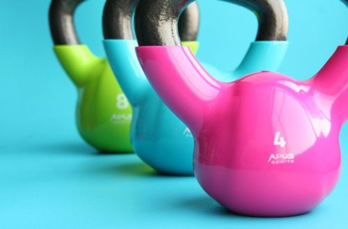multi-colored kettlebells